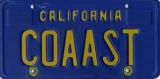 California COAAST license plate
