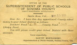 Postcard from superintendent of public schools of Sonoma County