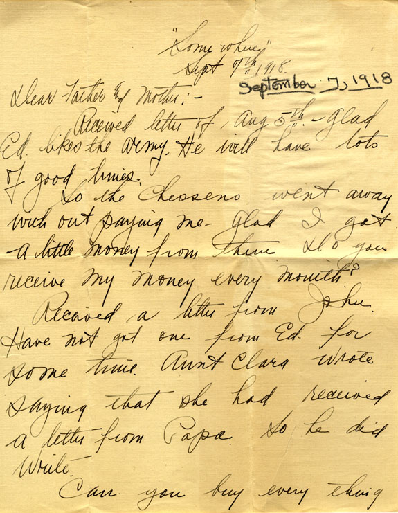 Correspondence, 7 September 1918, from Eliza Ann Tanner