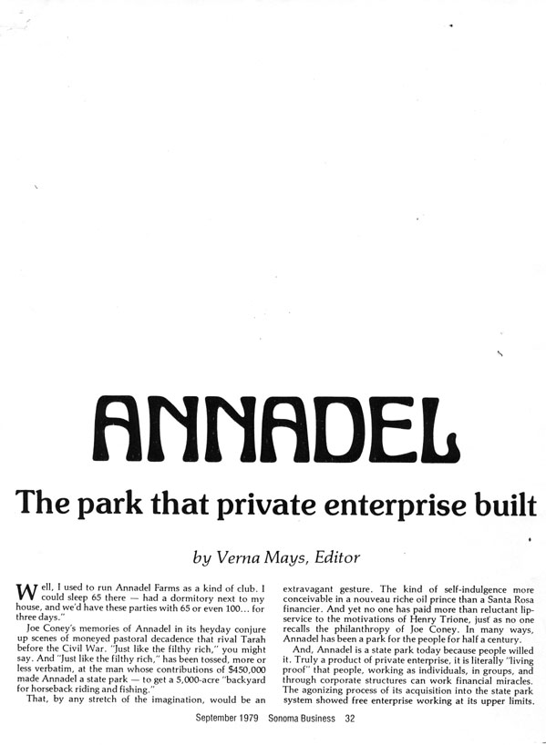 Annadel: the park that private enterprise built