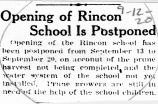 Opening of Rincon School is postponed