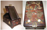 Wooden Chinese vanity box with mirror