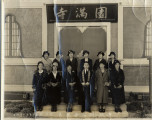 Reverend Goto and women in front of Enmanji Buddhist Temple