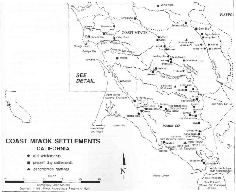 Map Of Coast Miwok Settlements California Environmental History